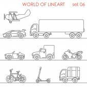 Transport aerial road moto bicycle kick scooter motor plane graphical line art style icon set World of lineart collection
