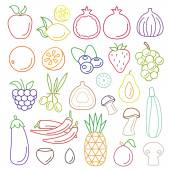 Line art set of fruits and vegetables