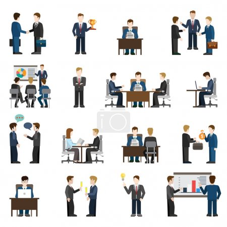 Flat style icons of business situations