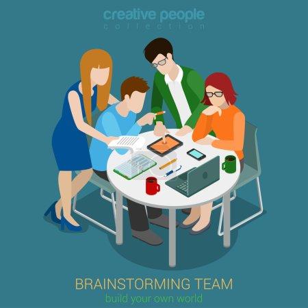 Illustration pour Brainstorming équipe créative personnes plat 3d web isométrique infographie concept vecteur. Processus de développement d'applications d'agence de publicité. Travail d'équipe autour de la table ordinateur portable directeur artistique principal concepteur programmeur - image libre de droit