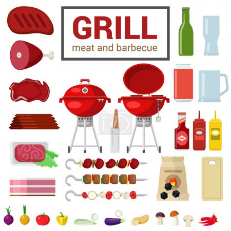 Flat style icon set of BBQ