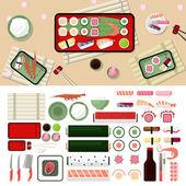 Sushi restaurant flat style design
