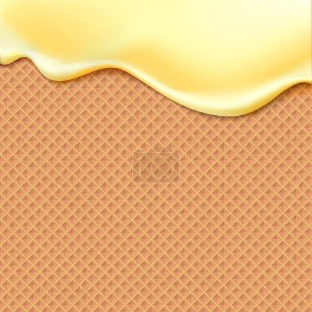 Illustration pour Flux jaune glaçure sur gaufrettes texture aliments sucrés vecteur fond abstrait. Faire fondre la crème glacée glacée sur un motif gaufre sans couture. Modifiable - Changement facile des couleurs . - image libre de droit