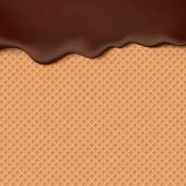 Flowing chocolate on wafer