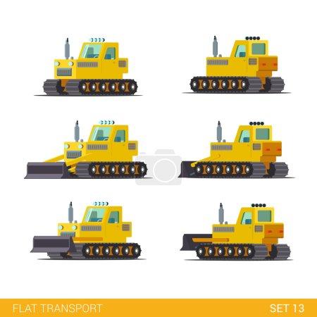 Illustration pour Style isométrique plat moderne chantier de construction bâtiment industriel suivi véhicules transport web app icône set concept. Niveleuse de tracteur. Construisez votre propre collection mondiale . - image libre de droit