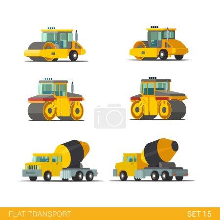Illustration pour Style isométrique plat moderne chantier de construction bâtiment industriel suivi véhicules transport web app icône set concept. bétonnière rouleau rouleau rouleau patinoire camion. Construisez votre propre collection mondiale . - image libre de droit
