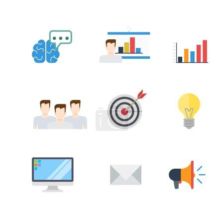 Illustration pour Plat marketing numérique créatif PR SEO infographie cible email promotion conceptuelle icônes vectorielles ensemble. Cerveau idée pensée brainstorming rapport homme tableau blanc équipe graphique viser haut-parleur lampe flèche . - image libre de droit