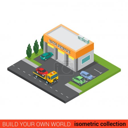 Illustration pour Plat 3d isométrique auto service de réparation de voiture bloc de construction concept infographique. Petite entreprise trois boîtes de services et dépanneuse dépanneuse rue parking. Créez votre propre collection d'infographies du monde - image libre de droit