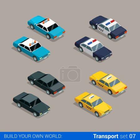 Illustration pour Icônes de transport de service de ville isométrique 3D plat de haute qualité ensemble. Police shérif voiture taxi taxi noir spécial. Construisez votre propre collection d'infographie web mondiale . - image libre de droit