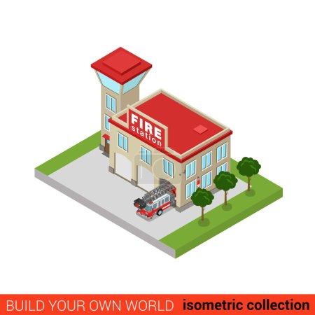 Illustration pour Bloc de construction de caserne de pompiers isométrique 3D plat concept infographique. Service de sauvetage bureau tour voiture camion. Créez votre propre collection d'infographies du monde . - image libre de droit