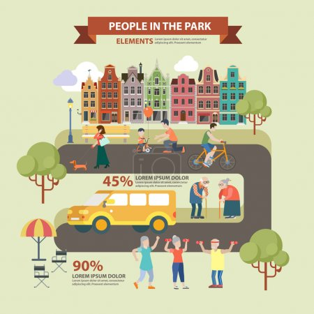People in park infographics concept.