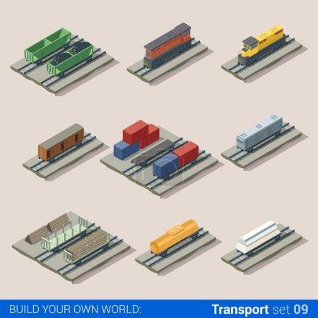railroad transport infographic set.