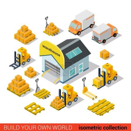 Illustration pour Flat 3d isométrique entrepôt livraison bâtiment transport infographie concept. Livrez une palette de chariot élévateur fourgon. Créez votre propre collection d'infographies du monde . - image libre de droit