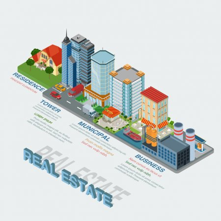 Illustration for Flat 3d isometric style real estate types thematic infographics concept. Residence business tower public municipal industrial info graphic. Conceptual web site infographic collection. - Royalty Free Image