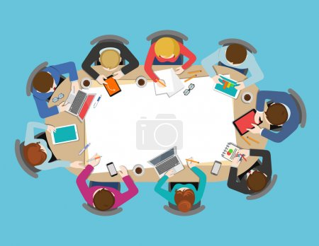 Illustration for Office table top view business meeting flat web infographic concept vector. Brainstorm report planning background. Creative people collection. - Royalty Free Image