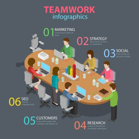Illustration for Teamwork office staff meeting room table brainstorming flat 3d isometric style thematic infographics concept. Marketing strategy SEO research info graphic. Conceptual web site infographic collection. - Royalty Free Image