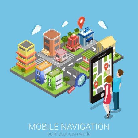 Illustration pour Flat 3d isométrique créatif navigation mobile web infographie concept. Couple touchant grand smartphone et la ville modèle carte pin point. Collection de personnes créatives . - image libre de droit