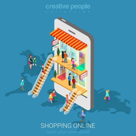 Illustration pour Mobile shopping e-commerce boutique en ligne appartement 3d web isométrique infographie concept vecteur et commerce électronique, les ventes, vendredi noir. Les gens marchent sur les planchers dans les magasins boutiques comme à l'intérieur smartphone . - image libre de droit