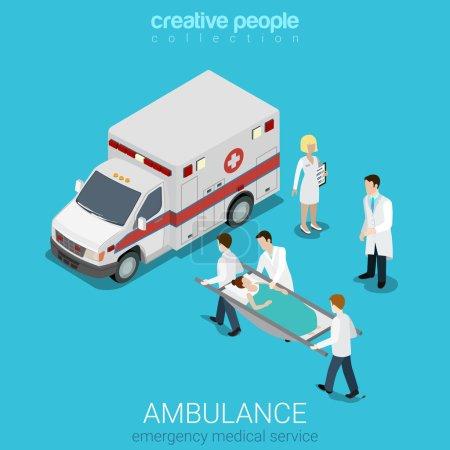Illustration pour Plan 3D style isométrique ambulance évacuation médicale d'urgence accident concept web infographies vectorielles illustration. Les ordres transportent la civière du patient. Créatif site web collection conceptuelle . - image libre de droit