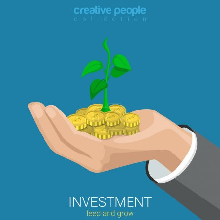 Illustration for Flat 3d isometric style investment grow business concept web infographics vector illustration. Coins and plant sprout growing on hand palm. Creative people website conceptual collection. - Royalty Free Image