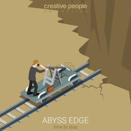 Illustration for Flat 3d isometric style abyss edge time to stop business concept web infographics vector illustration. Businessman drive railway handcar trolley to gulf chasm earth fault. Creative people collection. - Royalty Free Image