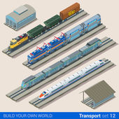 isometric style set of train depot