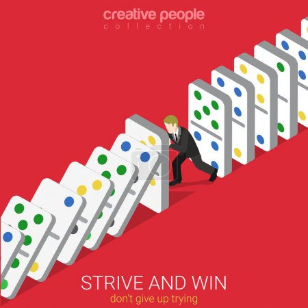 Illustration for Flat 3d isometric style strive and win do not give up trying business concept web infographics vector illustration. Man holding row of falling domino. Creative people website conceptual collection. - Royalty Free Image
