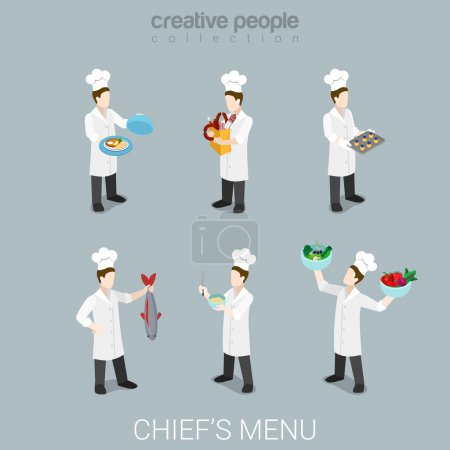 isometric style busy cook