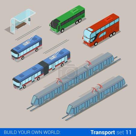 Illustration pour Ensemble d'infographie de chemin de fer isométrique 3D plat et transport urbain. Transport trolley tram arrêt de bus. Créez votre propre collection d'infographies du monde . - image libre de droit