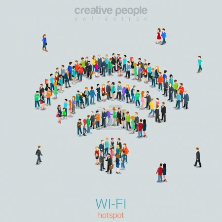 Crowd group forming WiFi sign