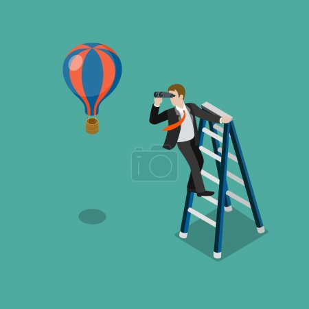 Illustration for Flat 3d isometric future look forecast concept web infographics vector illustration. Businessman on stepladder looking through binoculars on balloon. Creative people collection. - Royalty Free Image