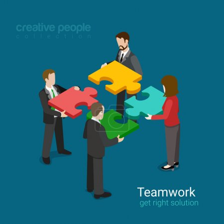 Illustration pour Business team solution in partnership concept flat 3d web isometric infographic vector. Quatre hommes d'affaires poussant des pièces de puzzle. Collection de personnes créatives . - image libre de droit