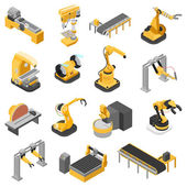Flat 3d isometric heavy industry machinery icon set web infographics vector illustration Woodworking power-saw ench jigsaw manipulator robots