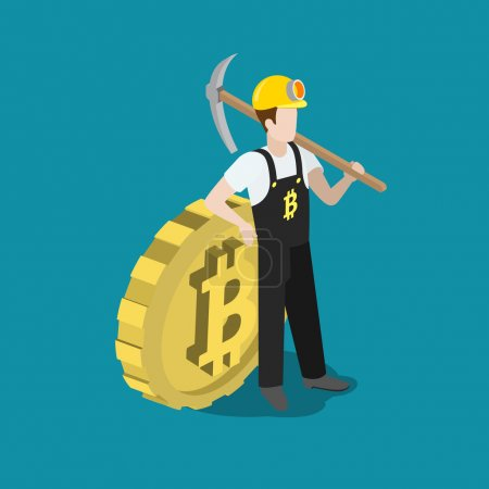 worker with pickaxe and big bit coin.