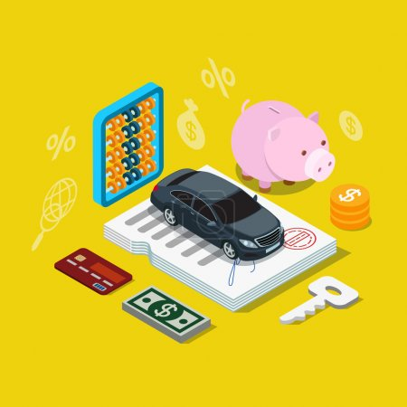 Illustration for Flat 3d isometry isometric car credit loan financing plan icon concept web app infographics vector illustration. Car on contract certificate coin key dollar money credit card. - Royalty Free Image