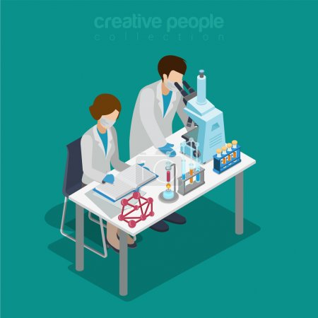 Illustration for Flat 3d isometric science lab experiment research pharmaceutics chemical concept web infographics vector illustration. Couple scientists assistant microscope flask test tube. Creative people collection. - Royalty Free Image