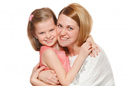 Photo for Happy mother and daughter hugging, isolated on white background - Royalty Free Image