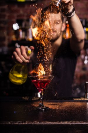 Photo for Bartender is making cocktail - Royalty Free Image