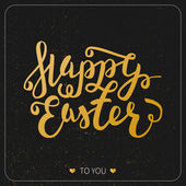 Happy Easter greeting card. Hand Drawn lettering Design Label