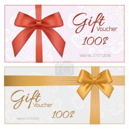 Illustration for Vector illustration of Voucher template with floral pattern, border, red and gold bow and ribbons - Royalty Free Image