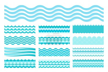 Illustration for Vector illustration Collection of marine waves. Sea wavy, ocean art water design - Royalty Free Image