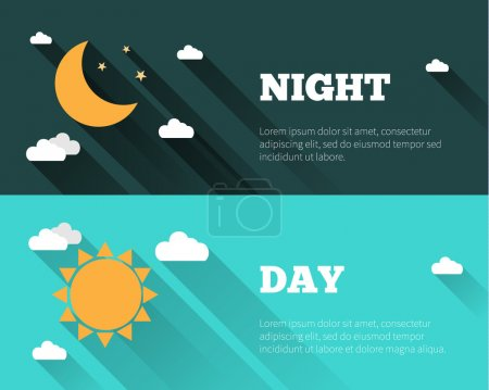 Illustration for Sun, moon and stars, clouds icons. Day and night sky vector banners. Flat style illustration with long shadows. Day time concept posters. - Royalty Free Image