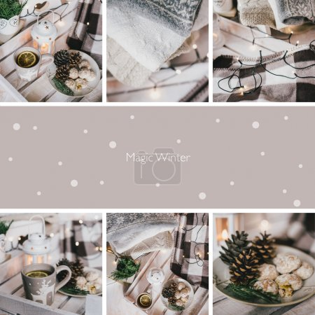 Collage of nine photos with Christmas items