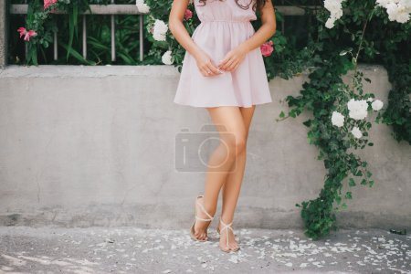Girl's legs with rose petals