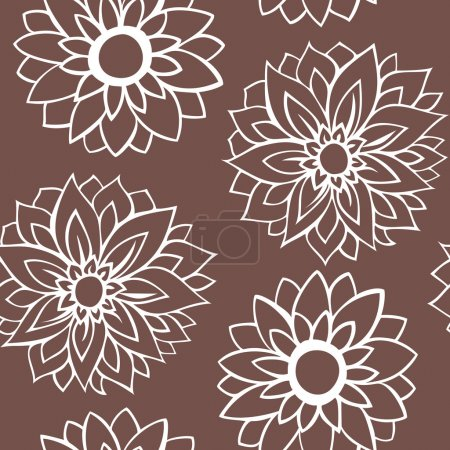 Pattern white flowers on brown background