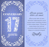 Luxury template with floral frame and a decorative pattern for the 17 years anniversary