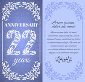 Luxury template with floral frame and a decorative pattern for the 22 years anniversary