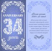 Luxury template with floral frame and a decorative pattern for the 34 years anniversary There is a place for text