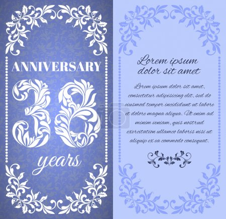 Luxury template with floral frame and a decorative pattern for the 38 years anniversary.