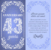 Luxury template with floral frame and a decorative pattern for the 43 years anniversary